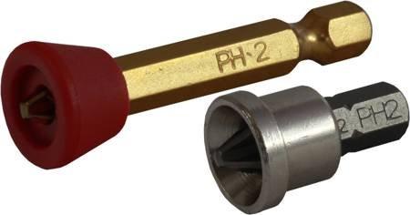 """KOŃCÓWKA BIT 1/4"""" PHILLIPS PH OGRANICZNIK PLASTIKOWY (5SZT)  STALCO  S-13182"""